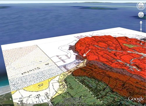 Carte géologique Google Earth / BRGM montrant le côté Sud de l'intrusion de Flamanville