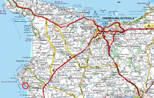 Localisation (cercle rouge) de l'affleurement des figures 1 à 3 sur une carte Michelin.