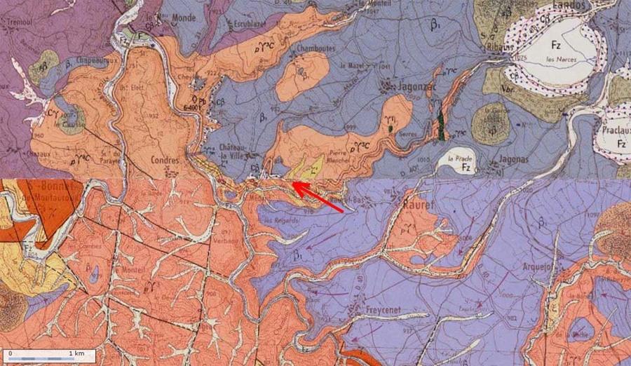 Carte géologique BRGM / Géoportail montrant le lieu d'observation du granite de la Margeride