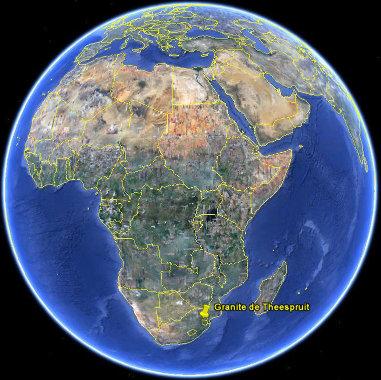 Localisation du granite de Theespruit, Afrique du Sud