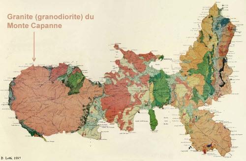 Reproduction annotée de la «carta geologica dell'isola d'Elba» de P. Lotti (1885)