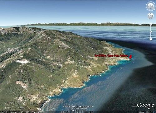 Vue sur le Capo San Andrea au NO de l'île d'Elbe