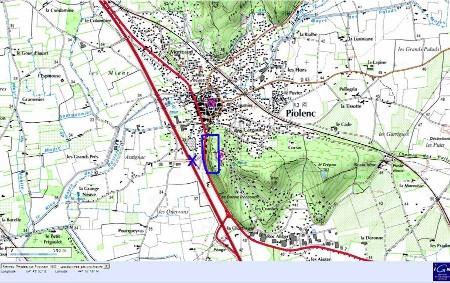 Localisation de la falaise de Piolenc (cadre bleu) et du site de prise de vue (croix bleue)