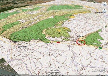 Cadre géologique des falaises de Piolenc (cerclées de rouge)