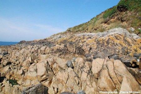 Détail du contact entre un filon de plagiogranite clair (en bas à gauche) et le gabbro sombre (en haut à droite), plage de Saint Jean du Doigt (Finistère)