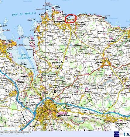 Localisation de la plage de Saint Jean du Doigt au Nord de Morlaix (Finistère)