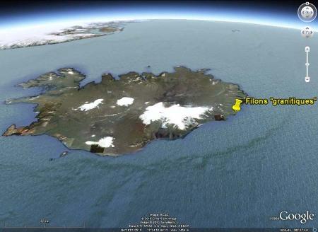 Localisation du filon de la plage de Reydhara, Islande