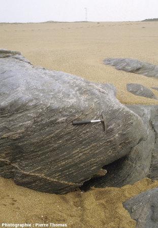 Affleurement de migmatite, plage de la Chaume, commune des Sables d'Olonne, Vendée