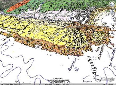 Carte géologique de la côte Ouest des Sables d'Olonne, Vendée