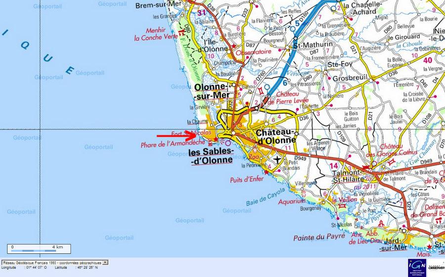 Localisation (flèche rouge) des migmatites des sables d'Olonne sur carte topographique IGN