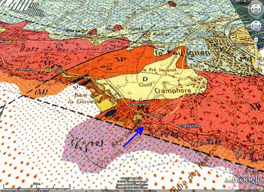 Localisation des affleurements de migmatites du Poulingen (Loire Atlantique) sur carte géologique