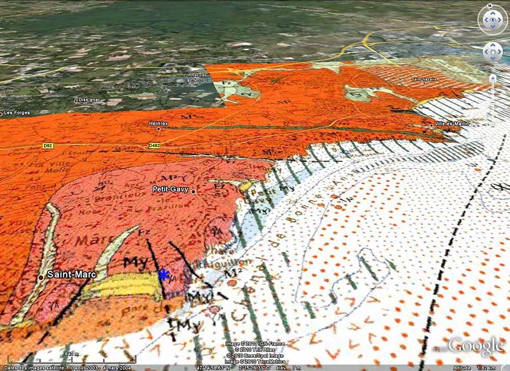 Localisation de l'affleurement de la plage de la Courrance sur carte géologique BRGM / Google