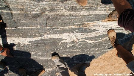 Vue générale sur une migmatite basique de la Sand River, Afrique du Sud