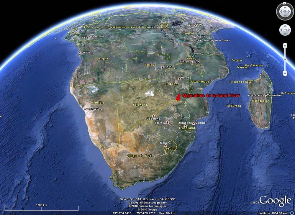Localisation des dalles migmatitiques de la Sand River, Afrique du Sud