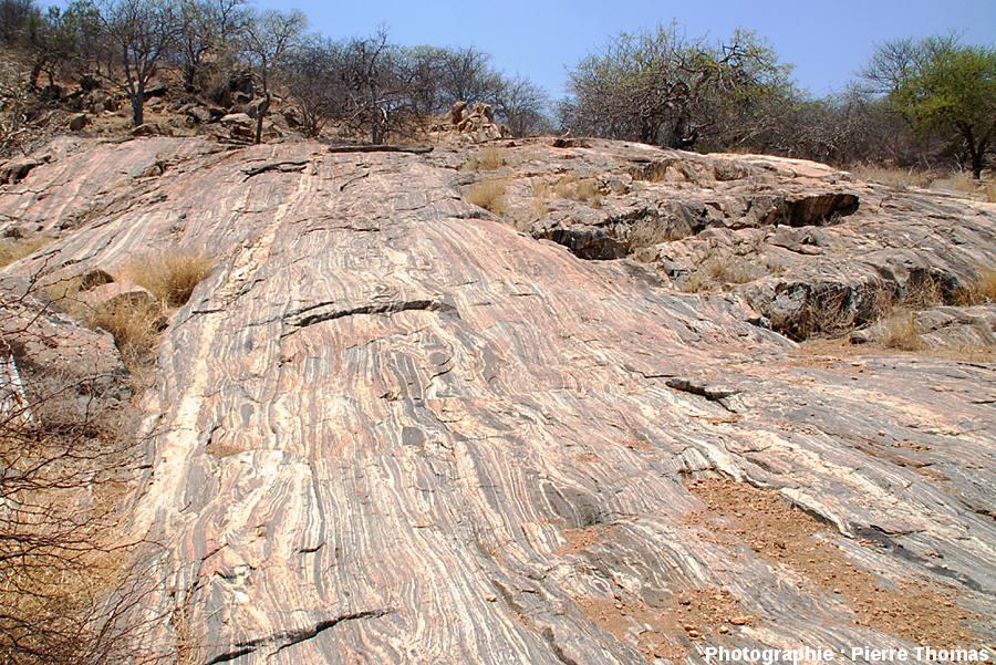 Vue d'un secteur des dalles migmatitiques de la Sand River, Afrique du Sud.