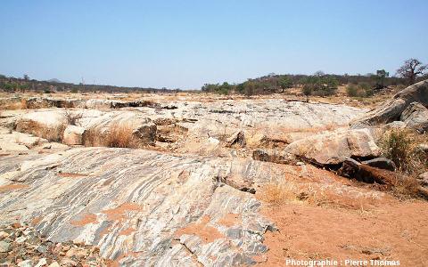 Vue d'ensemble d'un secteur des dalles migmatitiques de la Sand River, Afrique du Sud.