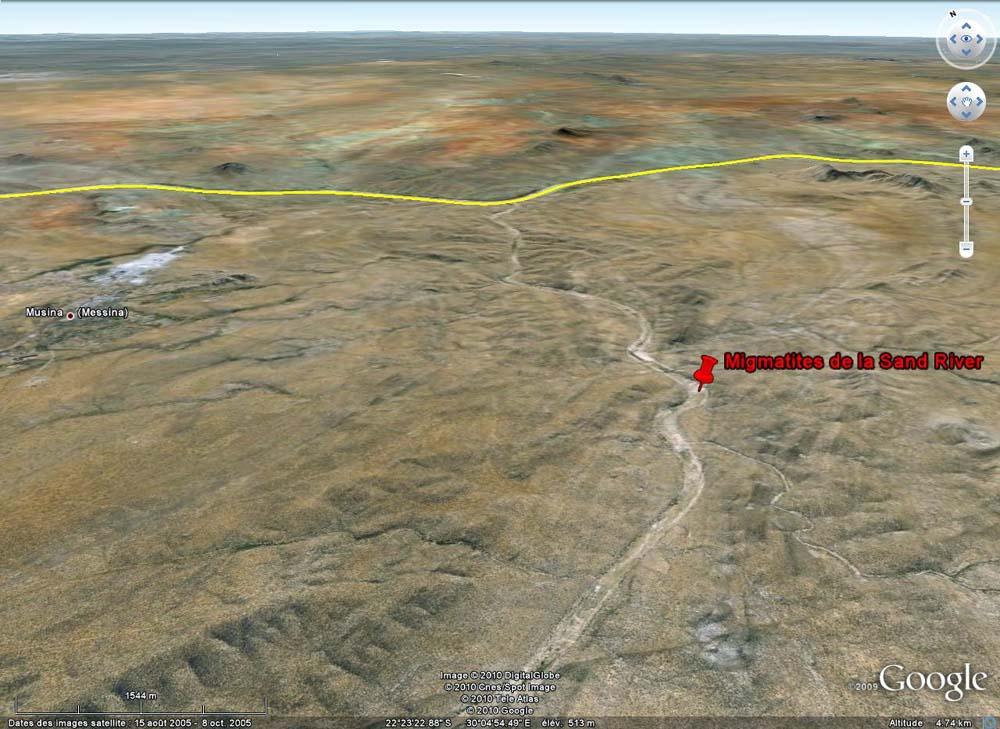 Localisation des dalles migmatitiques de la Sand River, Afrique du Sud, près de la frontière du Zimbabwe