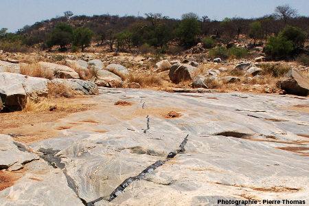 Terminaisons et «prise de relais» de plusieurs dykes basaltiques, Sand River, Afrique du Sud