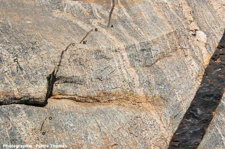 Très gros plan sur la terminaison d'un dyke basaltique, Sand River, Afrique du Sud