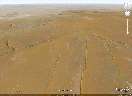 Exemple de dykes du Taoudeni (Mali) vus avec Google Earth