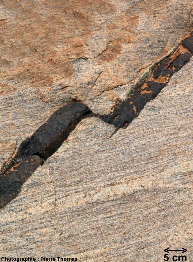 Relais de dykes mimant une faille transformante, lit de la Sand River, Afrique du Sud