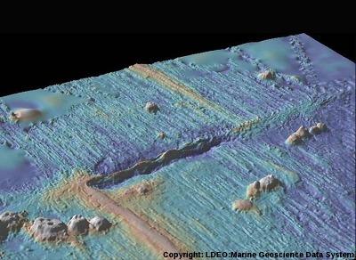 Image d'une faille transformante affectant une dorsale océanique, région de Clipperton