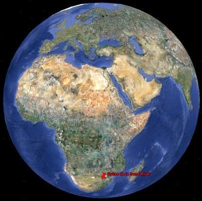 Localisation des dykes de la Sand River, Afrique du Sud