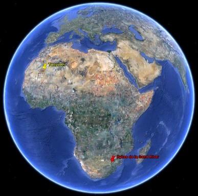 Localisation des dykes de la Sand River (Afrique du Sud) et du Taoudeni (Mali)