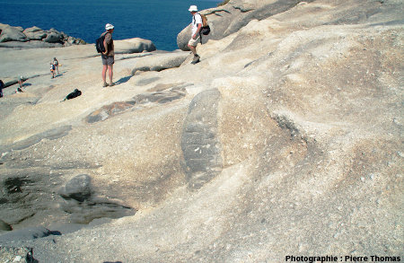 Vue d'ensemble d'un affleurement dans le granite du Monte Capanne, Capo San Andrea, îled'Elbe, Italie