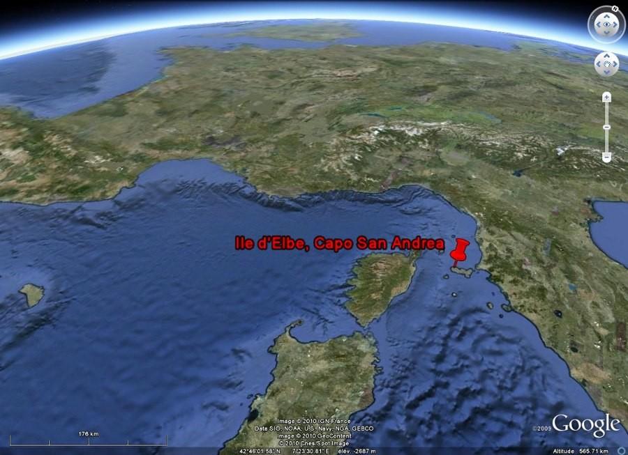 Localisation de l'île d'Elbe et du Capo San Andrea, en Méditerranée