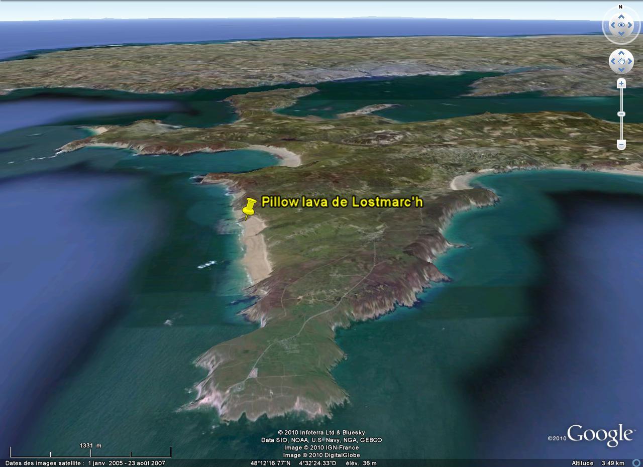 Localisation des pillows lava de Lostmarc'h (Finistère)