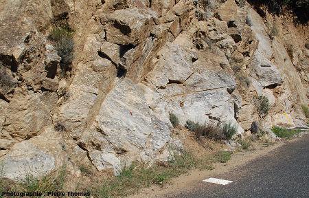 Secteur au bord de la D 619, les Albas (Pyrénées Orientales), montrant localement une séparation très peu nette entre les faciès granitiques clair et sombre