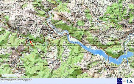 Localisation du site des Albas, commune de Felluns (Pyrénées Orientales), sur fond de carte IGN