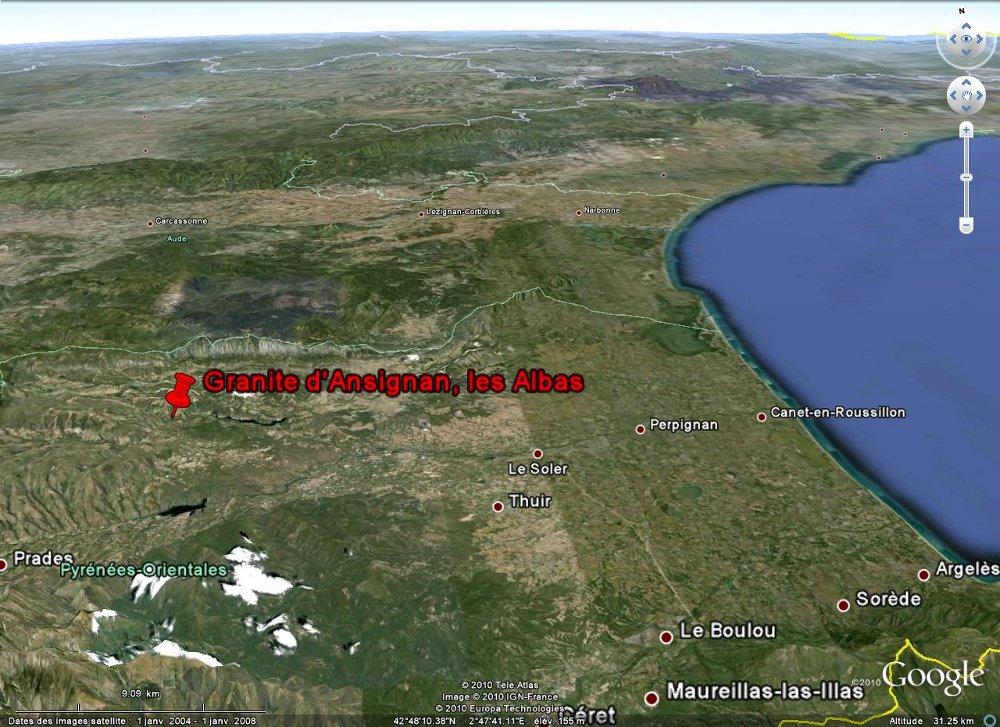 Localisation du site des Albas, commune de Felluns (Pyrénées Orientales), sur Google Earth