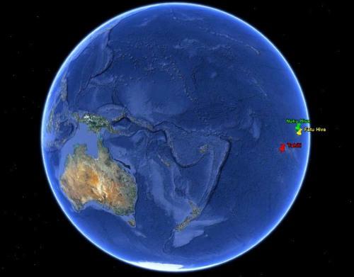 Localisation sur une image Google Earth de Fatu Hiva et Nuku Hiva, à 1400km au NE de Tahiti