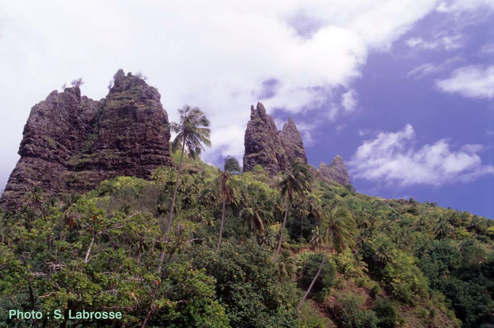 Pinacles de même origine dans la Baie d'Hatiheu sur Nuku Hiva, à 250 km au Nord-Ouest de Fatu Hiva, (Polynésie Française)