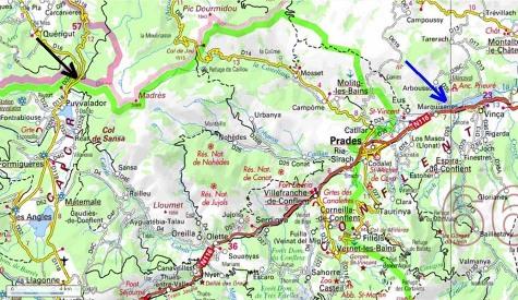 Localisation précise des affleurements du granite de Quérigut-Millas, Puyvalador (flèche noire) et Vinças (flèche bleue)