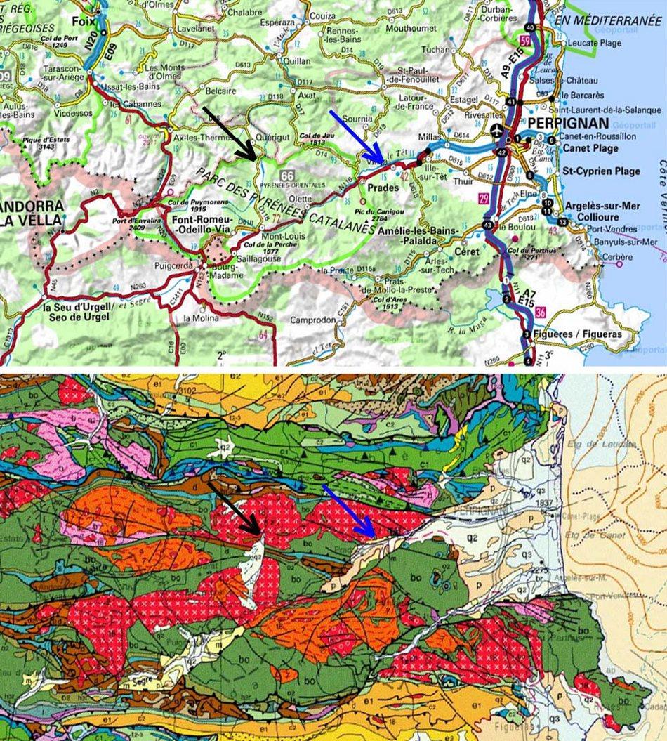 Localisation, à la même échelle, des affleurements du granite de Quérigut-Millas, Puyvalador (flèche noire) et Vinças (flèche bleue), sur un fond IGN et sur la carte géologique de la France au 1/ 1000000