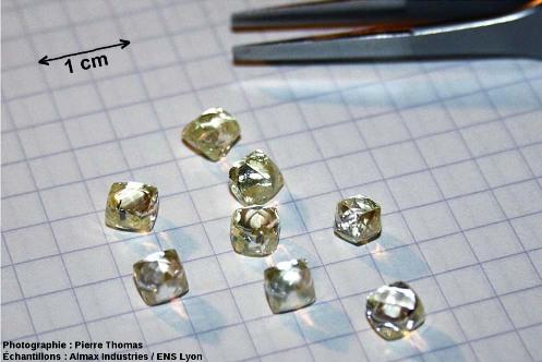Lot de 8 diamants bruts naturels destinés à entrer dans la fabrication d'une cellule à enclumes de diamant