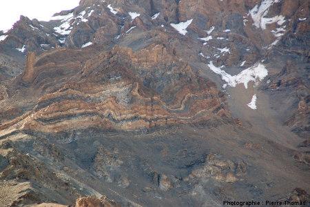 Vue globale d'un ensemble de «petits» plis dans la vallée de Sarchu, Himalaya, Ladakh (Inde)