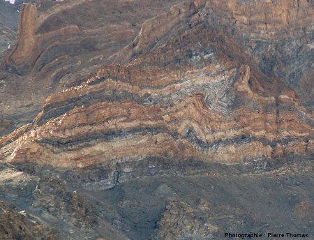 Vue détaillée d'un ensemble de «petits» plis dans la vallée de Sarchu, Himalaya, Ladakh (Inde)