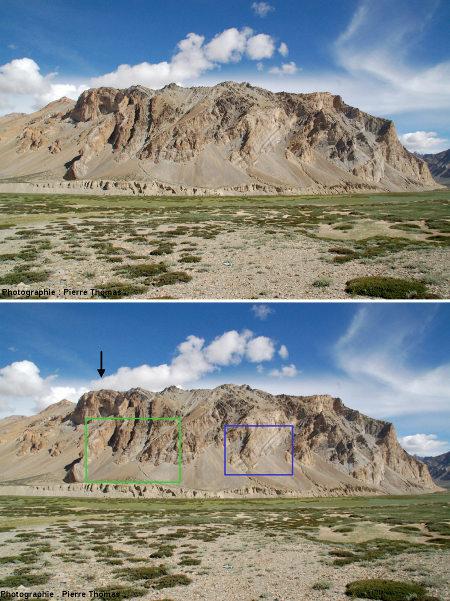 Un petit segment de la rive gauche de la vallée de Sarchu, Himalaya, Ladakh (Inde)