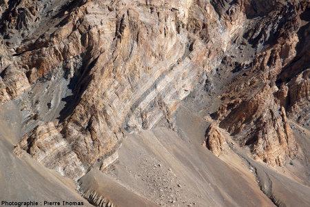 Zoom sur un pli en Z, en rive gauche de la vallée de Sarchu, Himalaya, Ladakh (Inde)