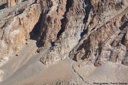 Zoom sur un ensemble de plis complexes, en rive gauche de la vallée de Sarchu, Himalaya, Ladakh (Inde)