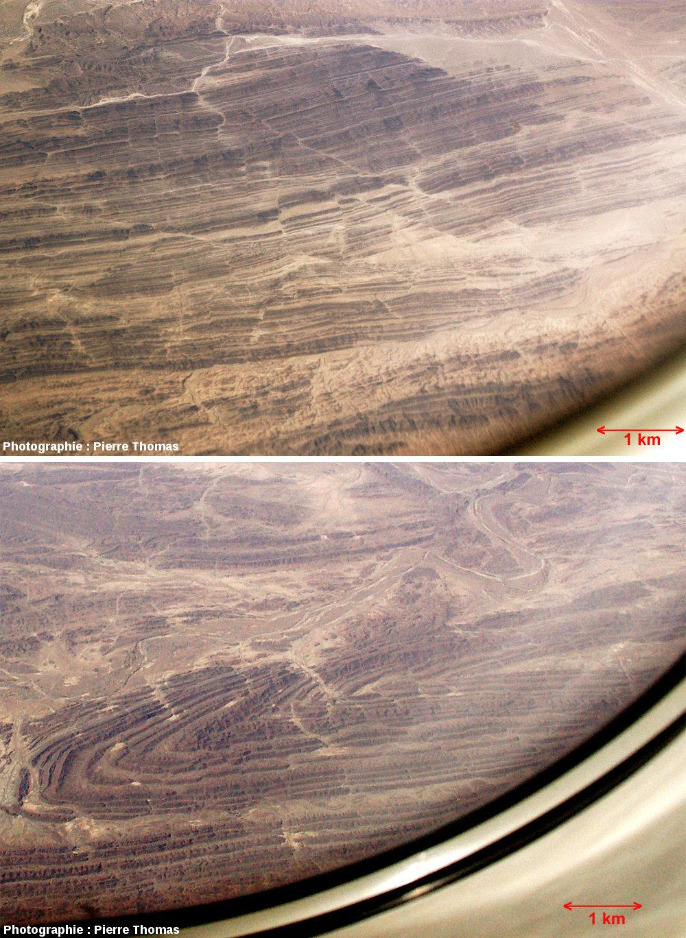 Vues sur la chaîne du Makran, Iran du Sud-Est / Pakistan du Sud-Ouest : deux vues prises par le hublot d'un avion de ligne à 10000 m d'altitude