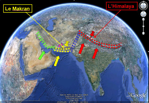 le contexte tectonique de la chaîne du Makran (en jaune), chaîne associée à la subduction de l'océan Indien sous les plateaux irano-pakistanais