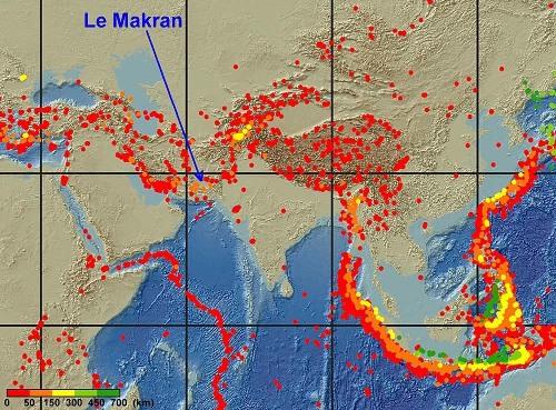 Carte de la sismicité du Sud-Est de la plaque eurasiatique entre 1999 et 2008