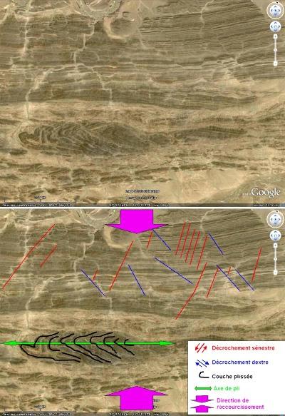 Image Google Earth et son interprétation tectonique, avec plis et décrochements conjugués, chaîne du Makran