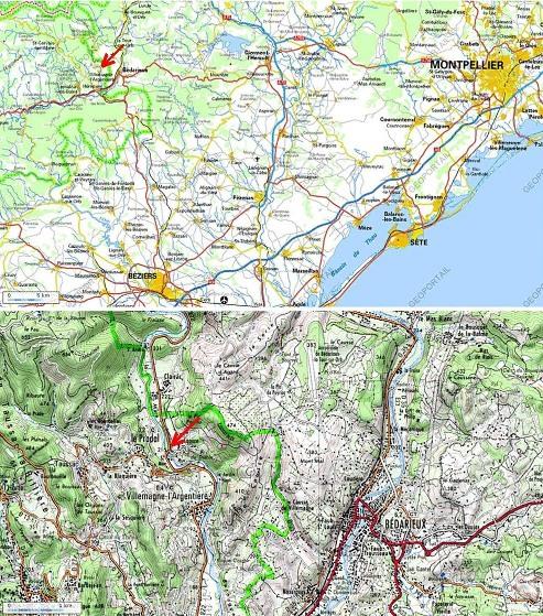 Localisation (flèche rouge) du pont de Saint Men, et de l'affleurement de la rive droite de la rivière La Mare, Le Pradal, Hérault