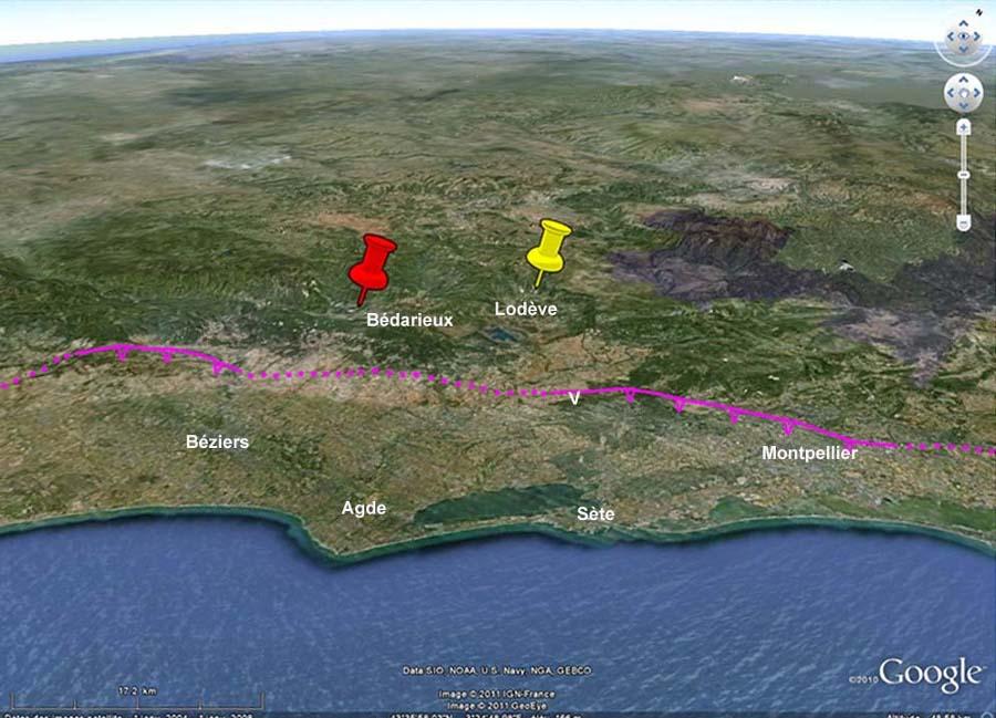 Localisation du pont de Saint Men (punaise rouge), près de Bédarieux dans le département de l'Hérault